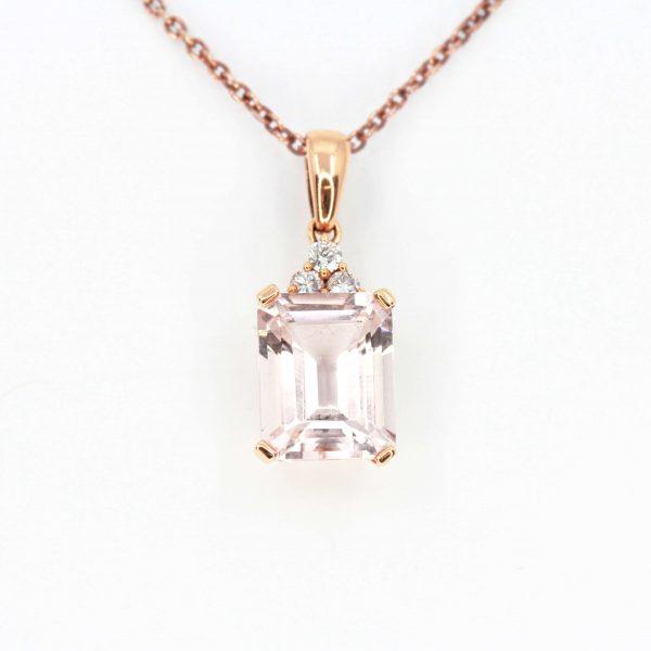 Morganite Pendant with Diamonds set in 18ct Rose Gold