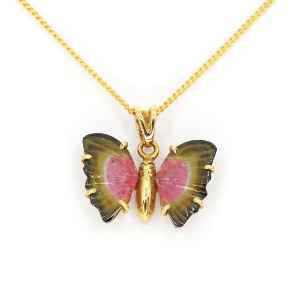 Watermelon Tourmaline Butterfly Pendant set in 18ct Yellow Gold