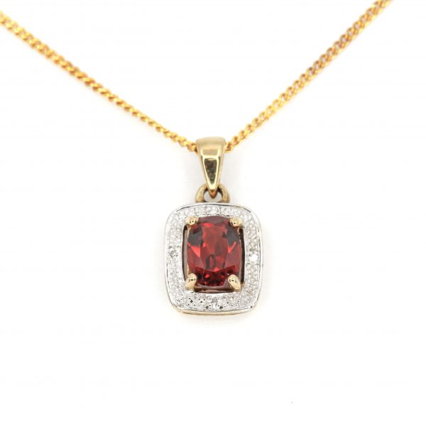 Garnet Pendant with Diamonds set in 9ct Yellow Gold