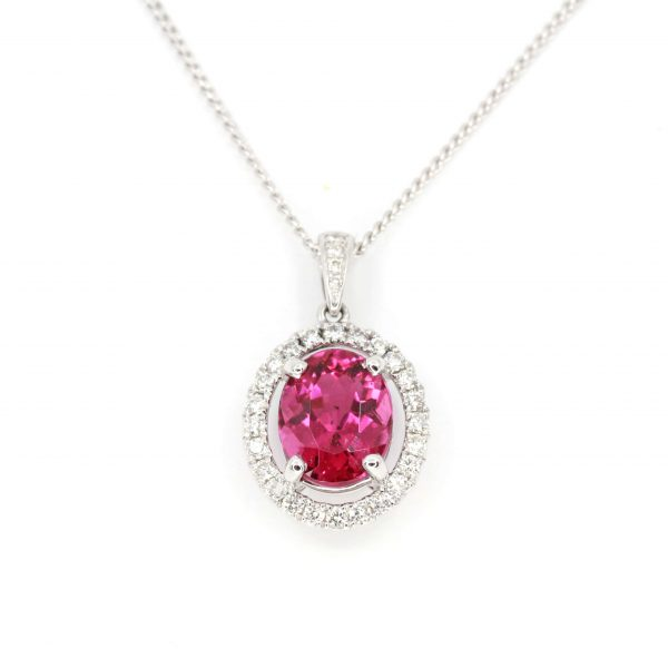Oval Pink Tourmaline Pendant with Halo of Diamonds set in 18ct White Gold