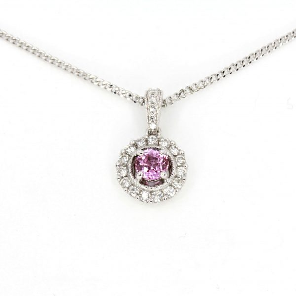 Round Cut Pink Sapphire Pendant with Diamonds set in 18ct White Gold