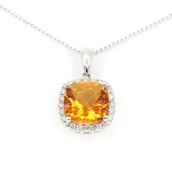 Checkered Cushion Citrine Pendant with Halo of Diamonds set in 18ct White Gold