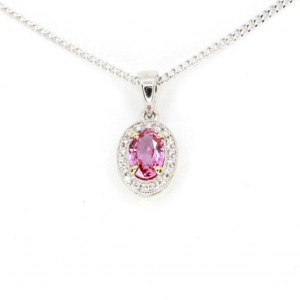 Oval Cut Pink Sapphire Pendant with Diamonds set in 18ct White Gold