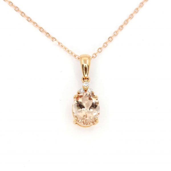 Morganite Pendant with Diamonds set in 18ct Rose Gold