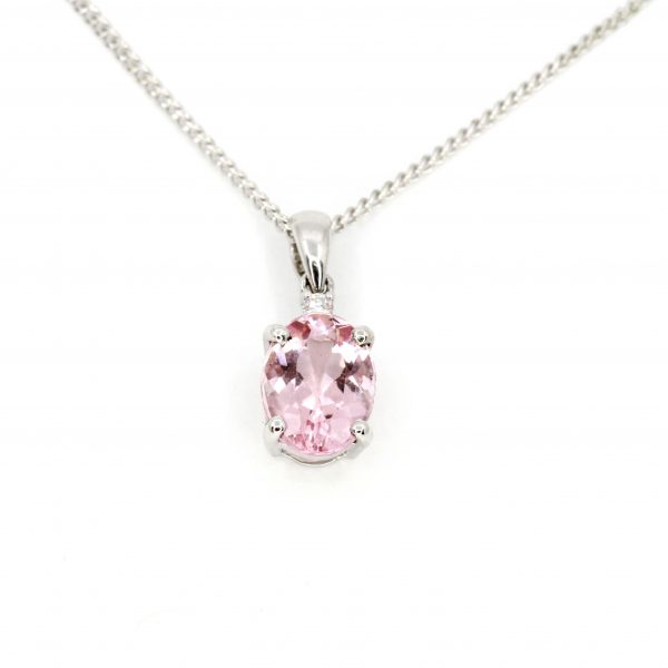 Morganite Pendant with Diamonds set in 18ct White Gold