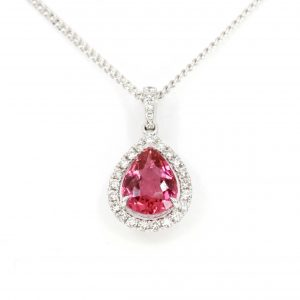 Pear Cut Pink Tourmaline Pendant with Diamonds set in 18ct White Gold