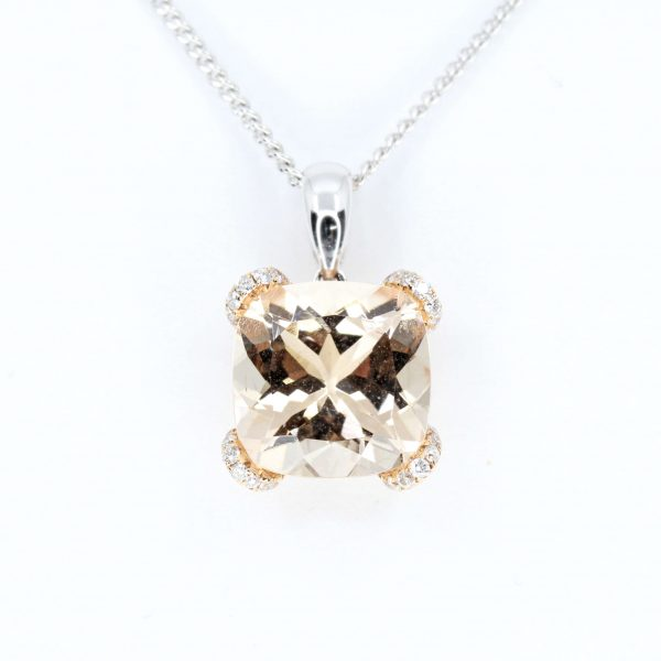 Morganite Pendant with Diamonds set in 18ct White Gold & Rose Gold
