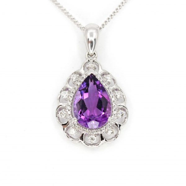 Amethyst Pendant with Diamonds set in 18ct White Gold