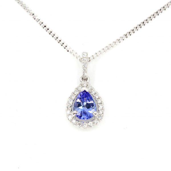 Pear Cut Tanzanite Pendant with Diamonds set in 18ct White Gold