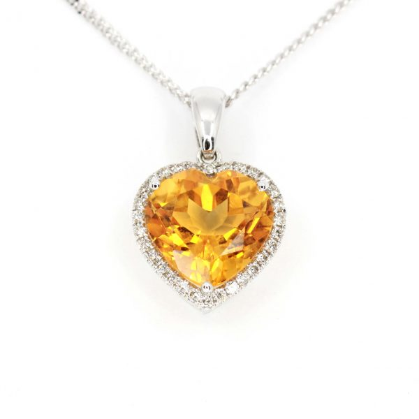 Heart Citrine Pendant with Halo of Diamonds set in 18ct White Gold