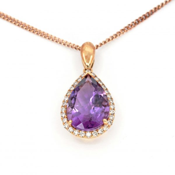 Amethyst Pendant with Diamonds set in 18ct Rose Gold