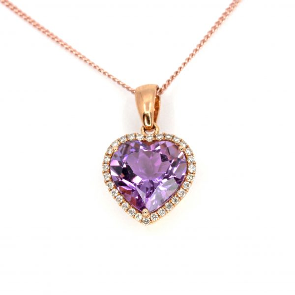Heart Amethyst Pendant with Halo of Diamonds set in 18ct Rose Gold
