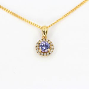 Round Cut Tanzanite Pendant with Diamonds set in 18ct Yellow Gold
