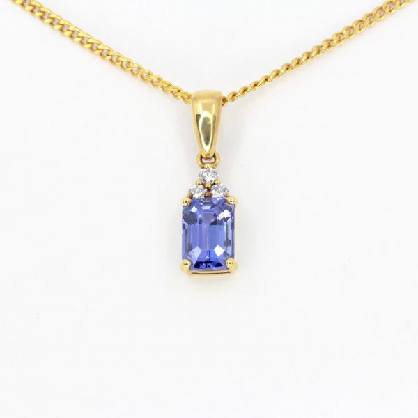 Radiant Cut Tanzanite Pendant with Diamonds set in 18ct Yellow Gold