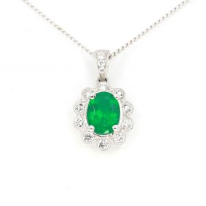 Oval Emerald Pendant with Diamonds set in 18ct White Gold