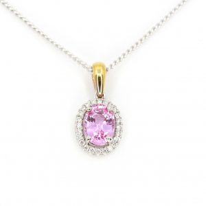 Oval Pink Tourmaline Pendant with Halo of Diamonds set in 18ct White Gold & Yellow Gold
