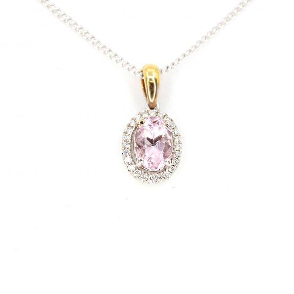 Oval Morganite Pendant with Halo of Diamonds set in 18ct White Gold &Yellow Gold