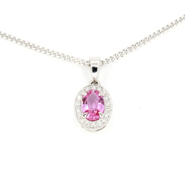 Oval Pink Sapphire Pendant with Halo of Diamonds