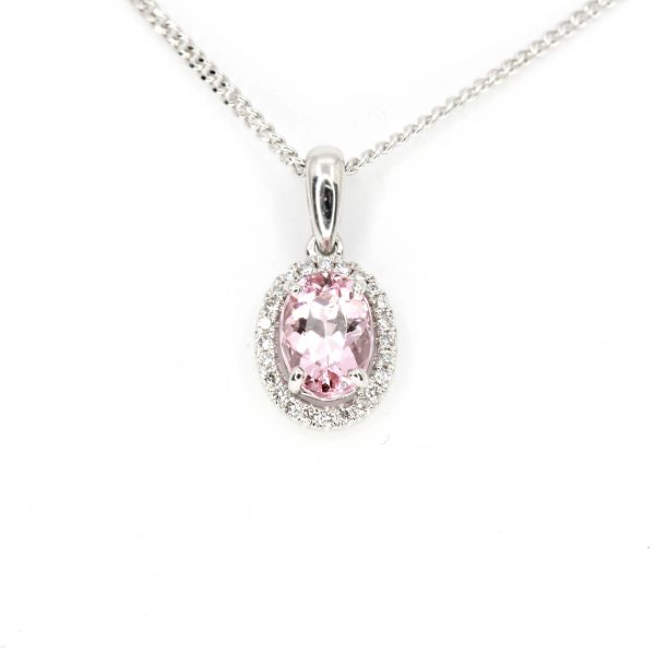 Oval Morganite Pendant with Halo of Diamonds set in 18ct White Gold