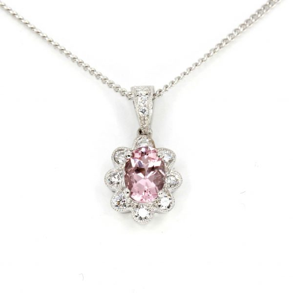 Oval Morganite Pendant with Diamonds set in 18ct Rose Gold