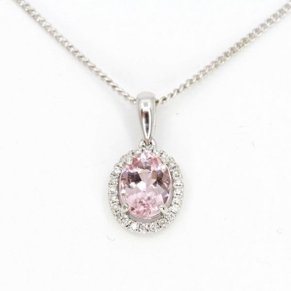 Oval Morganite Pendant with Halo of Diamonds set in 18ct Rose Gold