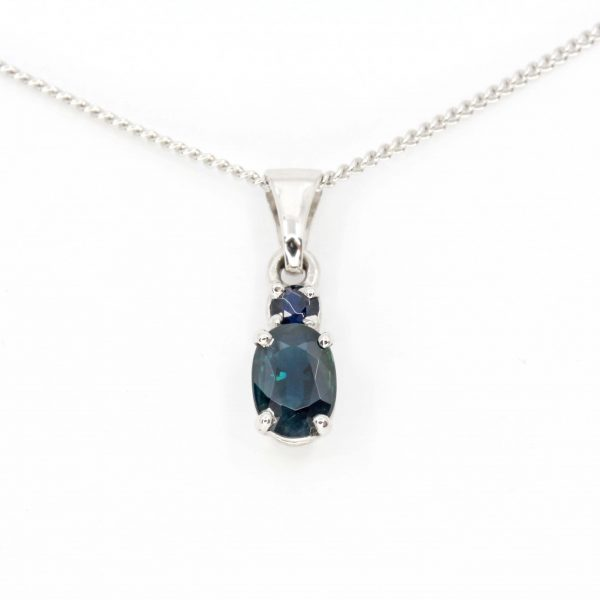 Oval Australian Sapphire Pendant set in 18ct White Gold
