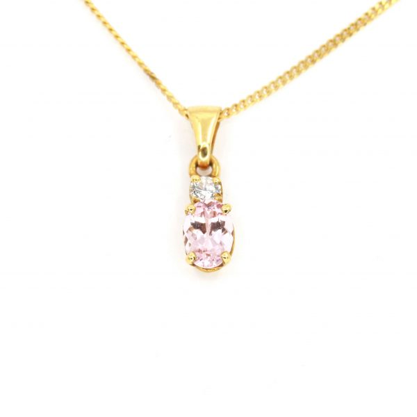 Morganite Pendant with Diamonds set in 18ct Yellow Gold