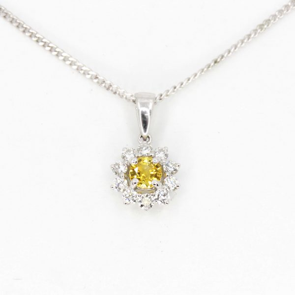 Yellow Sapphire Pendant with Diamond accents set in 18ct White Gold