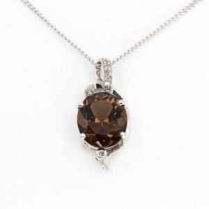 Oval Cut Smokey Quartz Pendant with Diamonds set in 9ct White Gold