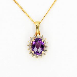 Oval Amethyst Pendant with Halo of Diamonds set in 18ct Yellow Gold