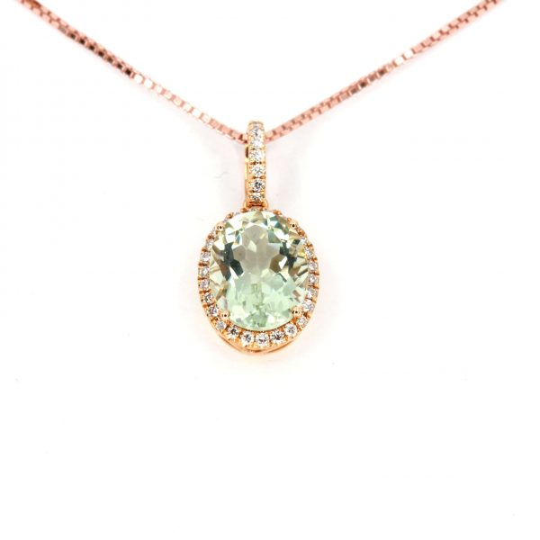 Oval Green Quartz Pendant with Halo of Diamonds set in 18ct Rose Gold