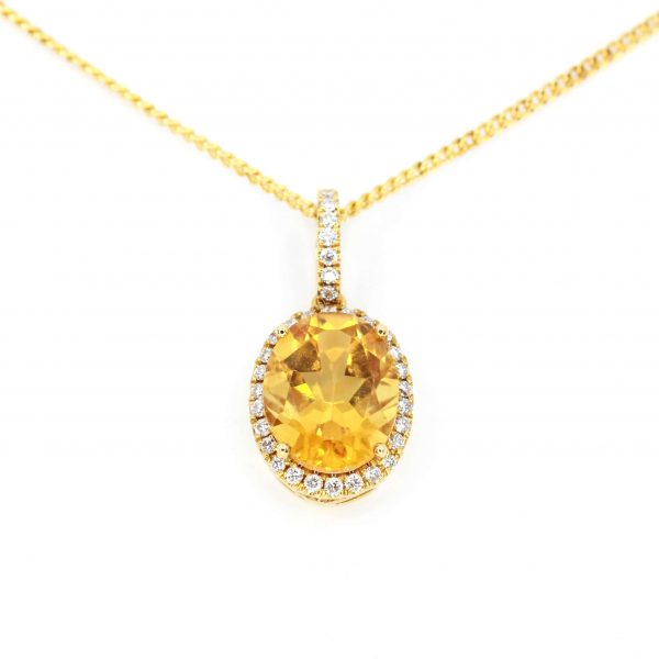 Oval Citrine Pendant with Halo of Diamonds set in 18ct Yellow Gold