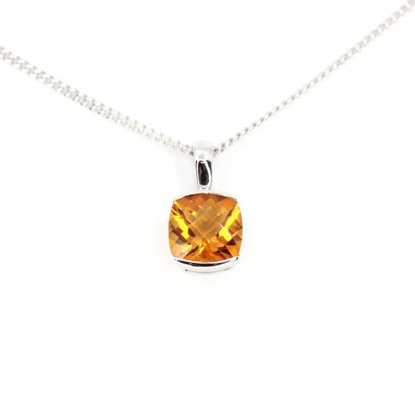 Checkered Cushion Citrine Pendant set in 18ct White Gold