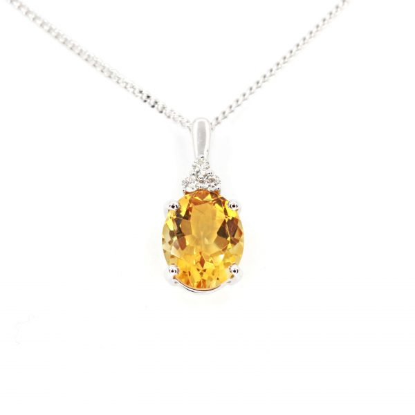 Citrine Pendant with Diamonds set in 18ct White Gold