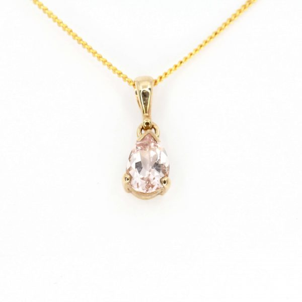 Pear Cut Morganite Pendant set in 9ct Yellow Gold
