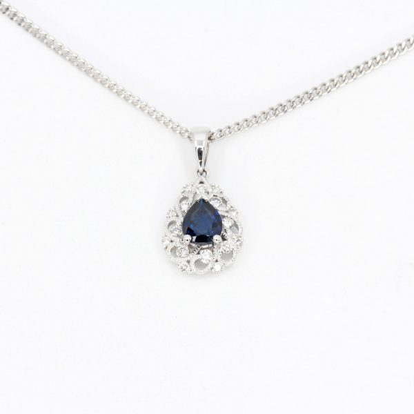 Pear Cut Sapphire Pendant with Diamonds set in 18ct White Gold