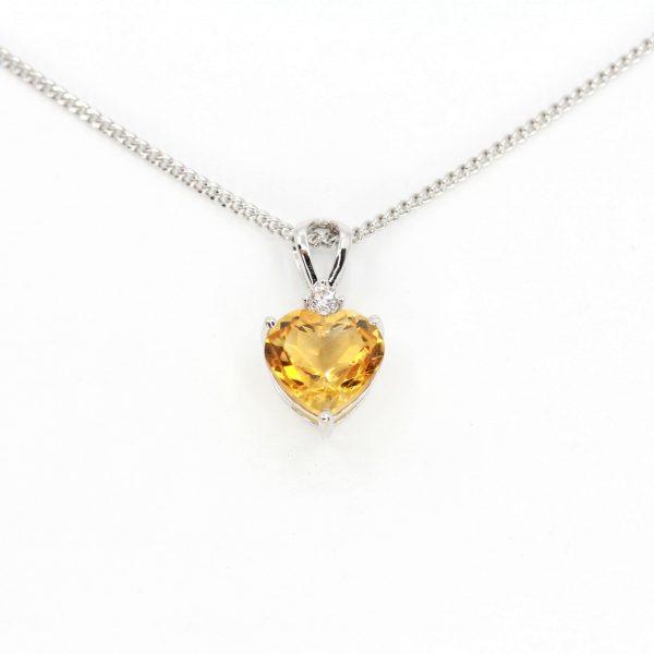 Citrine Pendant with Diamonds set in 18ct White Gold
