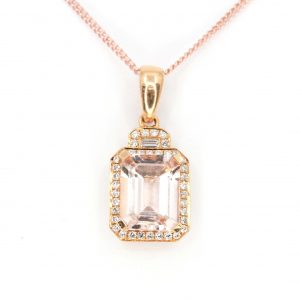 Emerald Cut Morganite Pendant with Halo of Diamonds set in 18ct Rose Gold