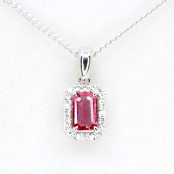 Emerald Cut Ruby Pendant with Halo of Diamonds set in 18ct White Gold