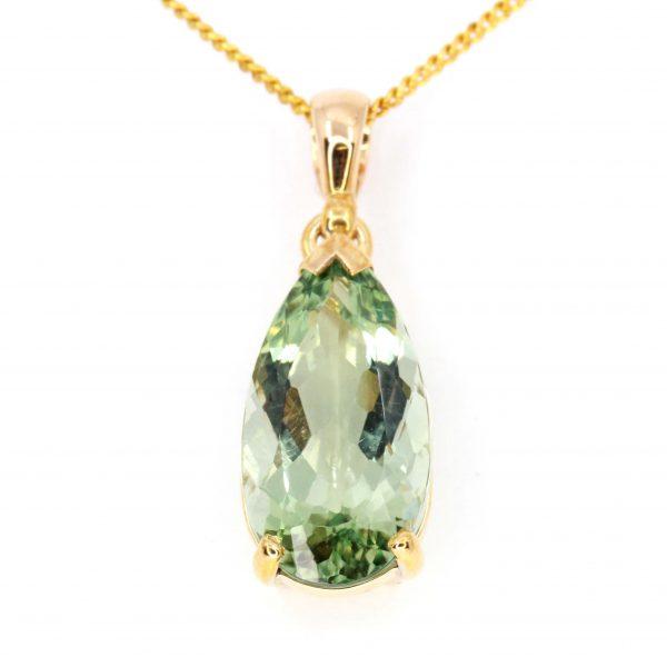 Pear Cut Green Quartz Pendant set in 9ct Yellow Gold