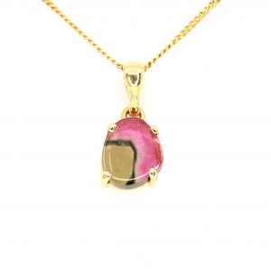 Watermelon Tourmaline Slice Pendant set in 18ct Yellow Gold