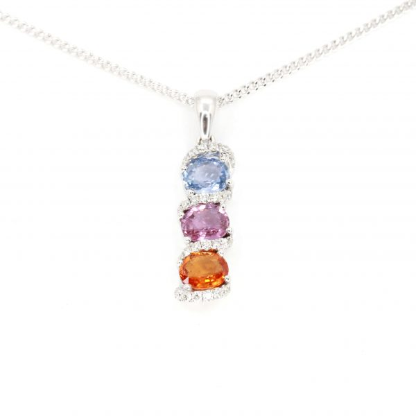 Oval Blue, Pink, Orange Sapphire Pendant with Diamonds set in 18ct White Gold