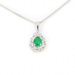 Emerald Pendant with Diamonds set in 18ct White Gold