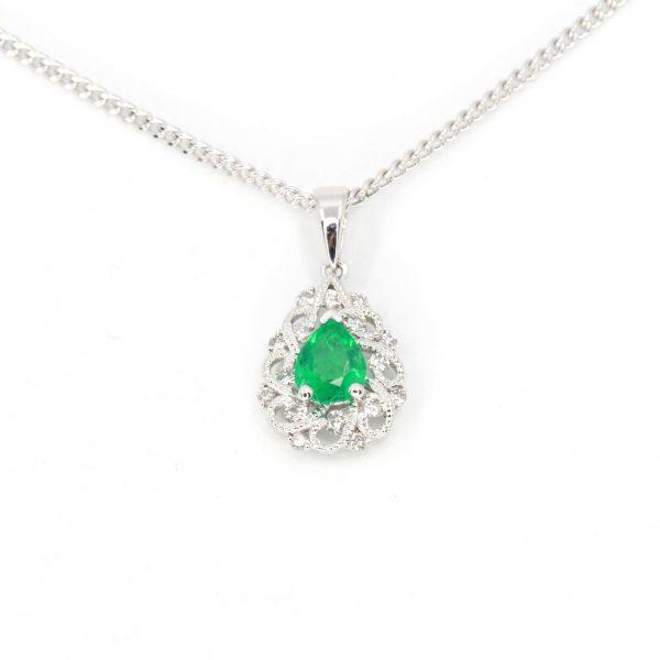 Emerald Pendant with Diamonds set in 18ct White Gold