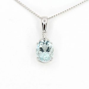 Aquamarine Pendant with Diamonds set in 18ct White Gold