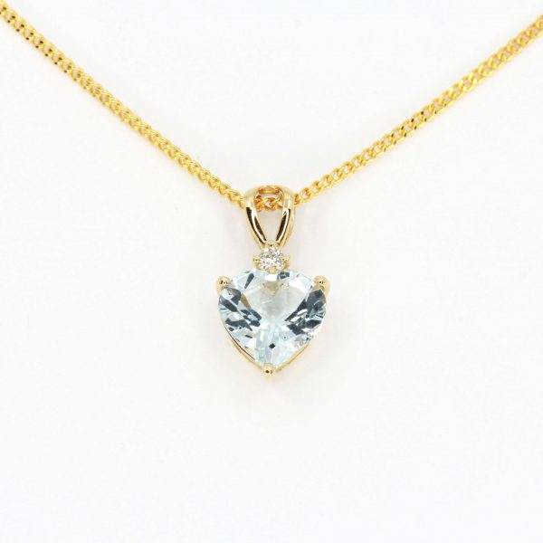 Aquamarine Pendant with Diamonds set in 18ct Yellow Gold