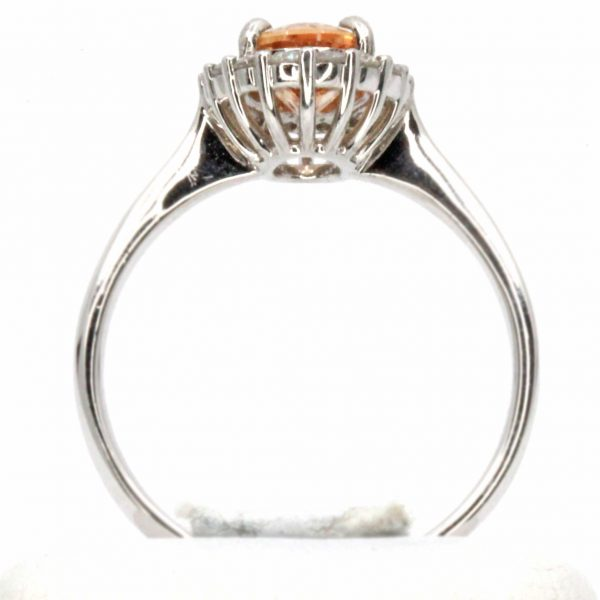 Gold Topaz Ring With Halo Of Diamonds Set In 18ct White Gold