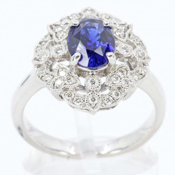 Ceylon Sapphire Ring with Vintage Design Set in 18ct White Gold