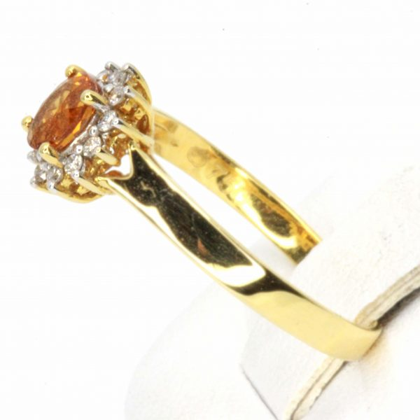 Citrine Ring with Diamond Halo Set in 18ct Yellow Gold