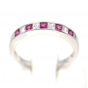 Ruby & Diamond Channel Set Wedder in 18ct White Gold